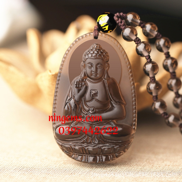 Phật bản mệnh A Di Đà đá Obsidian khói