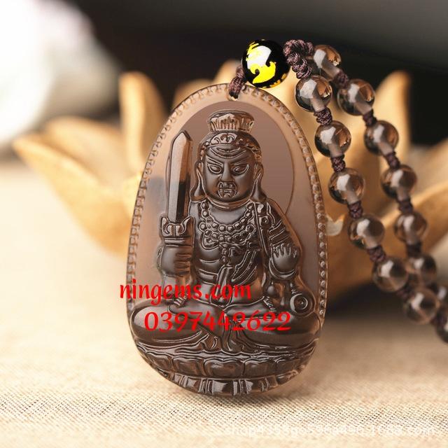 Phật bản mệnh Bất Động Minh Vương đá Obsidian khói