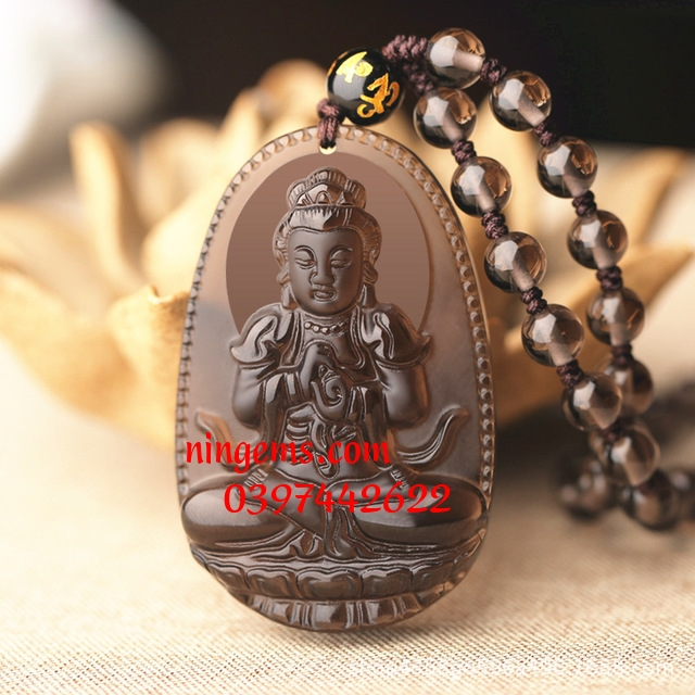 Phật bản mệnh Như Lai Đại Nhật đá Obsidian khói