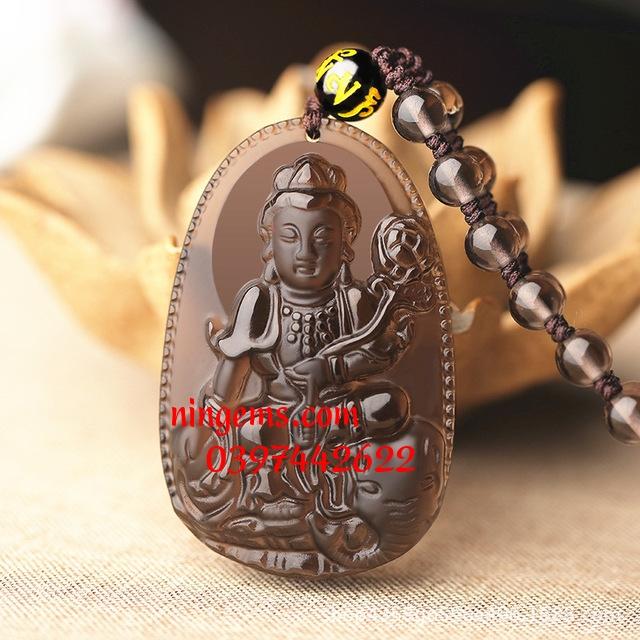 Phật bản mệnh Phổ Hiền Bồ Tát đá Obsidian khói