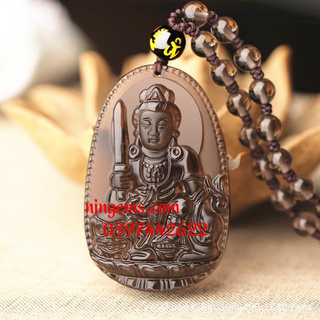 Phật bản mệnh Văn Thù Bồ Tát đá Obsidian khói