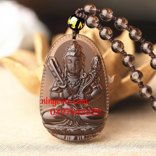 Phật bản mệnh Hư Không Tạng đá Obsidian khói