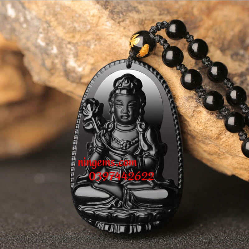 Phật bản mệnh Đại Thế Chí Bồ Tát đá obsidian đen