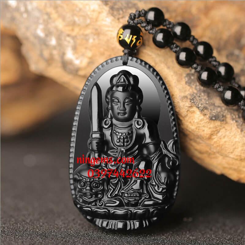 Phật bản mệnh Văn Thù Bồ Tát đá obsidian đen