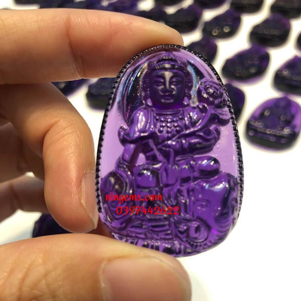 Phật bản mệnh Phổ Hiền Bồ Tát đá thạch anh tím