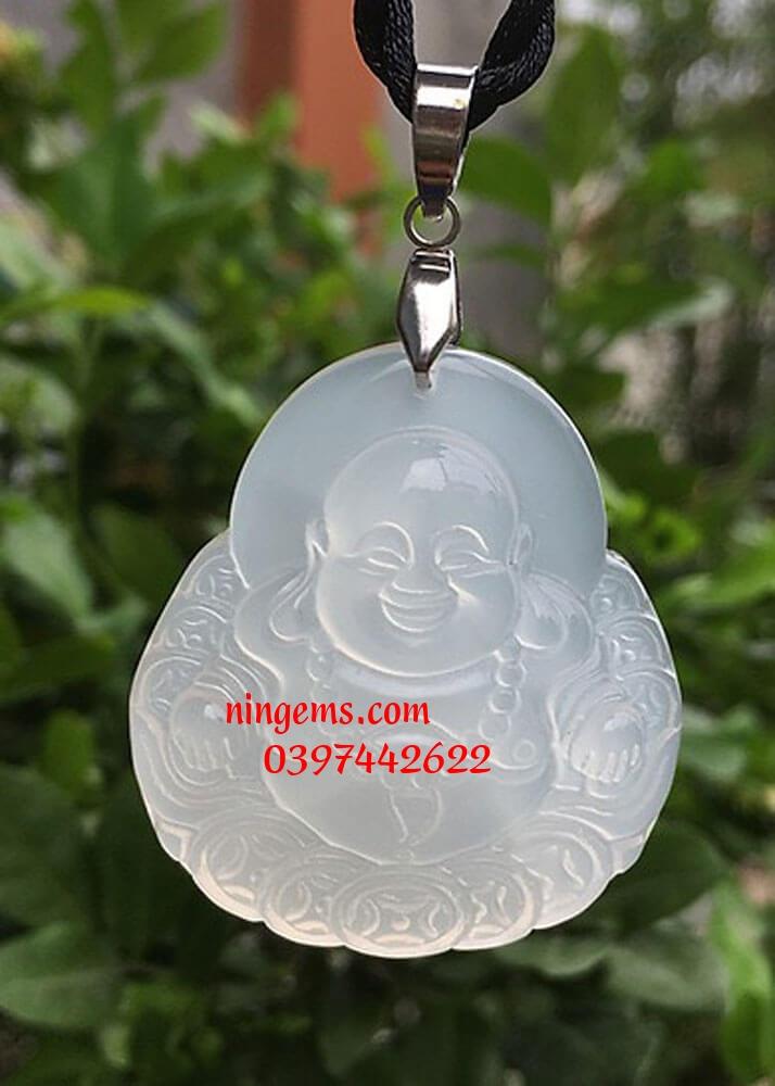 Phật Di Lặc đá mã não trắng