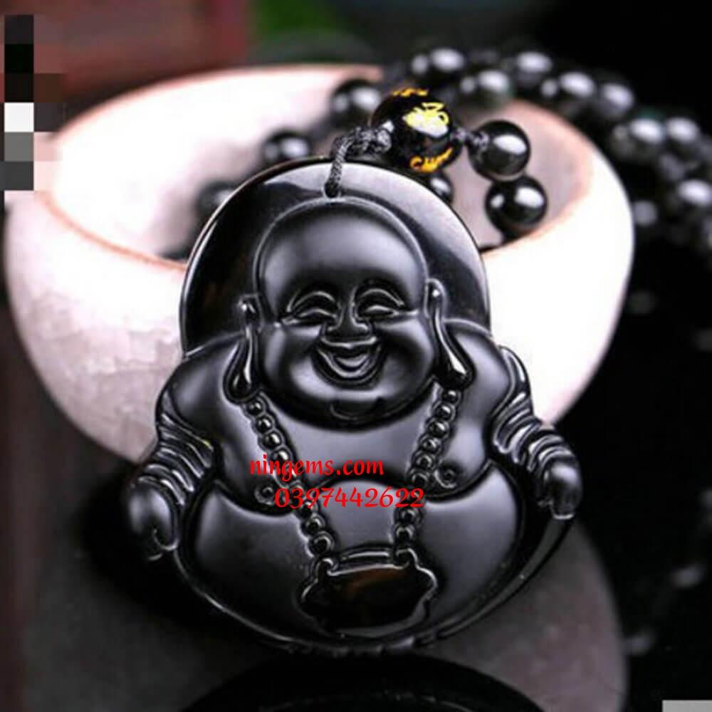 Phật Di Lặc đá obsidian den