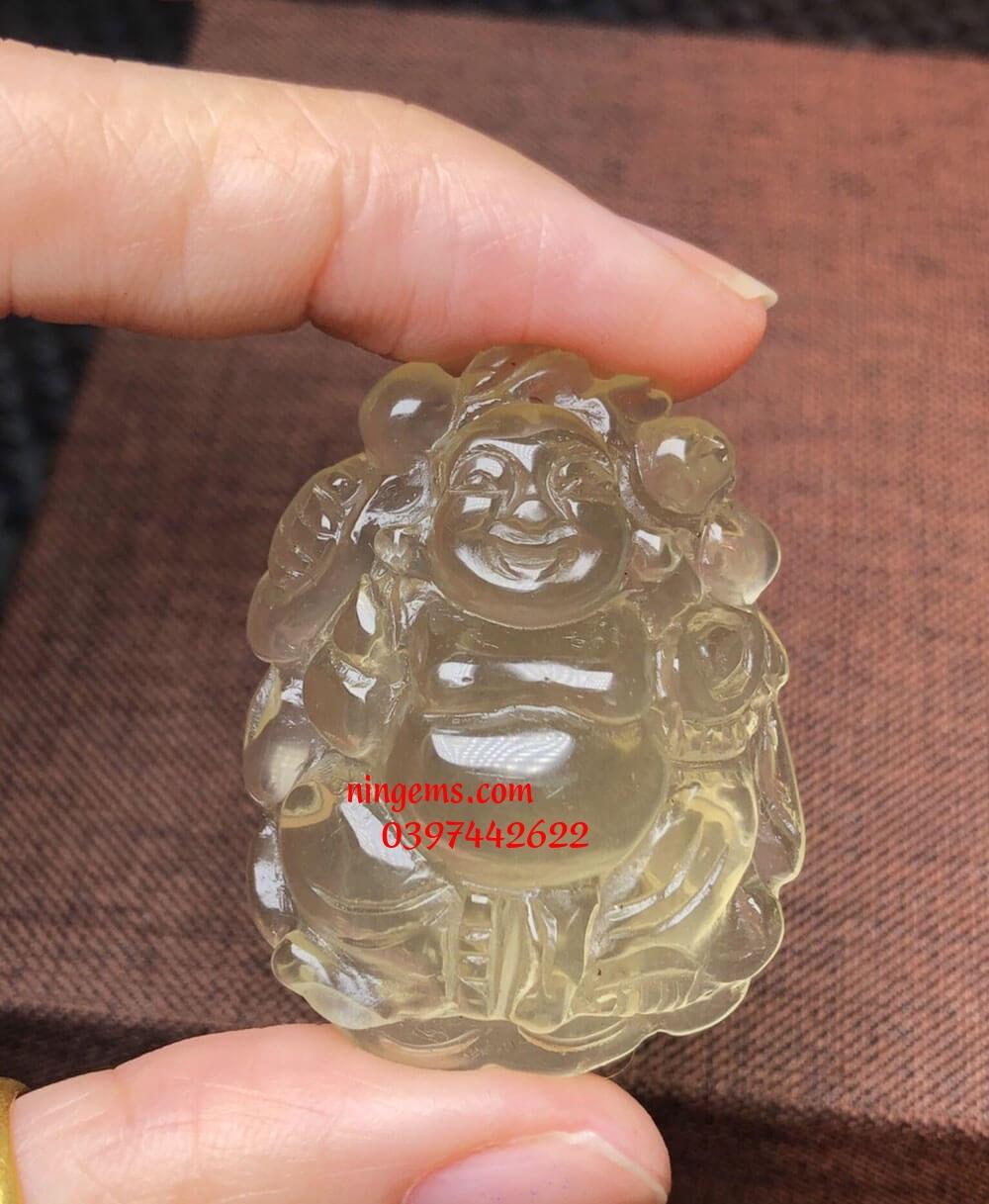 Phật Di Lặc đá thạch anh vàng