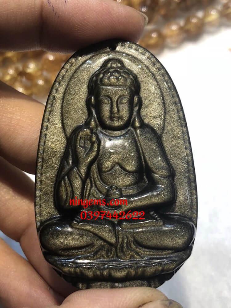 Phật bản mệnh A Di Đà đá Obsidian xà cừ