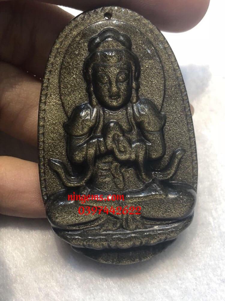 Phật bản mệnh Như Lai Đại Nhật đá Obsidian xà cừ