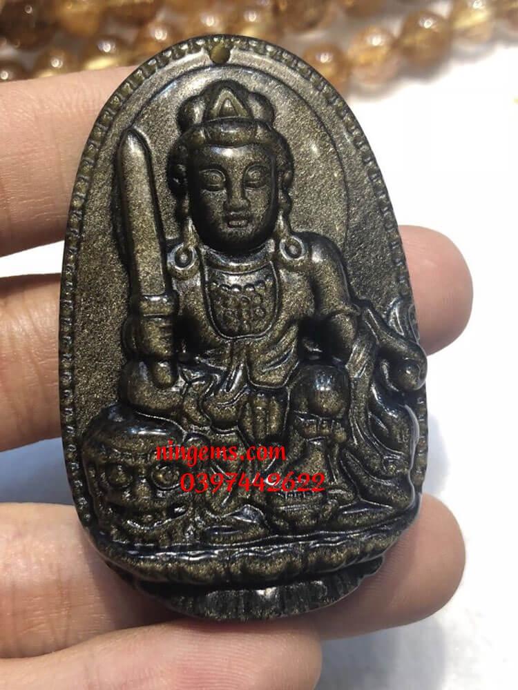 Phật bản mệnh Văn Thù Bồ Tát đá Obsidian xà cừ