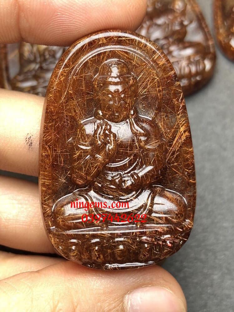 Phật bản mệnh A Di Đà đá thạch anh tóc nâu đỏ