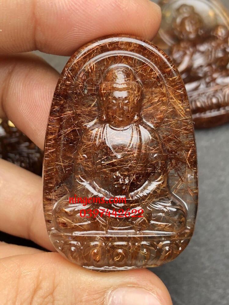 Phật bản mệnh Như Lai Đại Nhật đá thạch anh tóc nâu đỏ