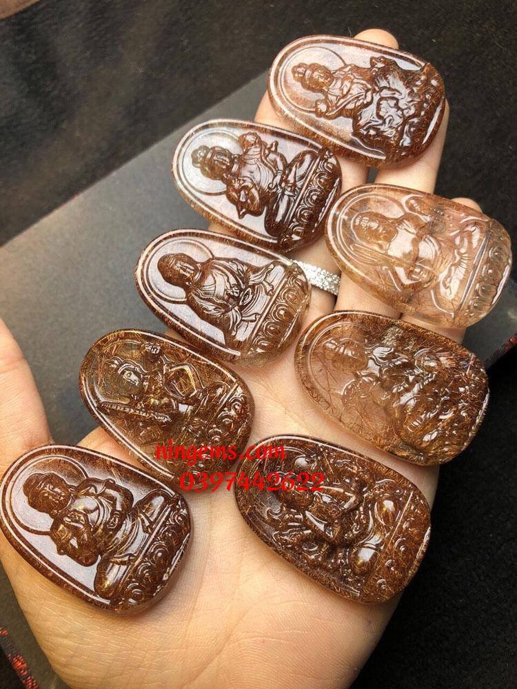 Phật bản mệnh Văn Thù Bồ Tát đá thạch anh tóc nâu đỏ
