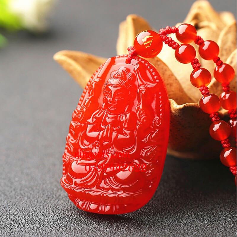 Phật bản mệnh Thiên Thủ Thiên Nhãn đá mã não đỏ