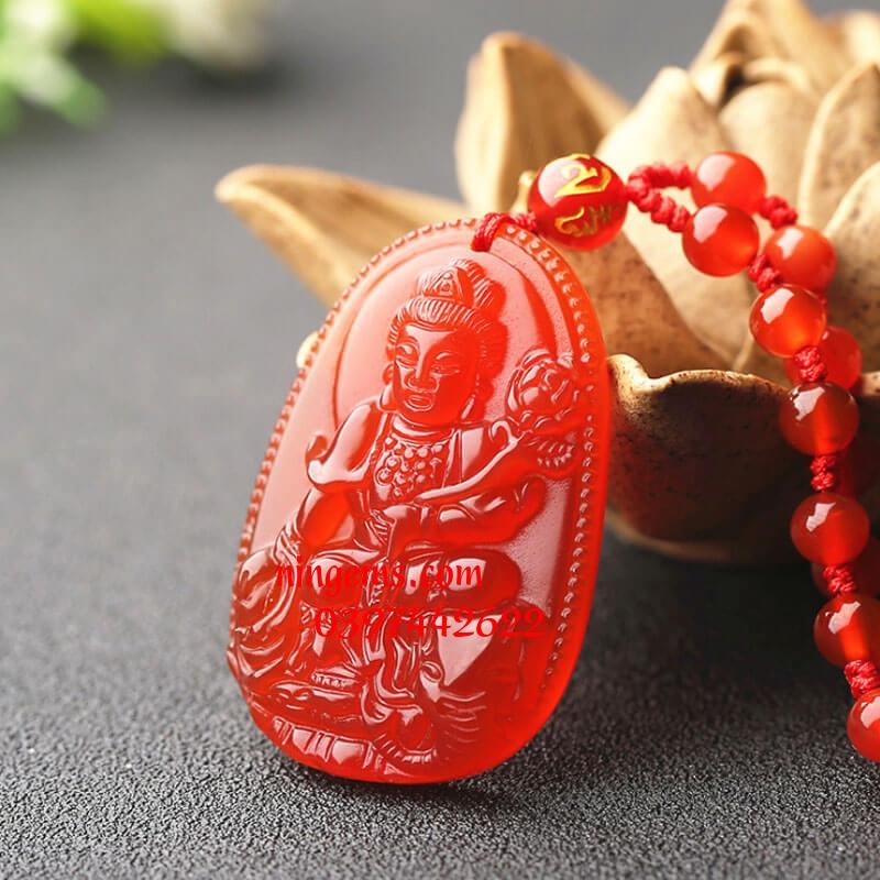 Phật bản mệnh Phổ Hiền Bồ Tát đá mã não đỏ