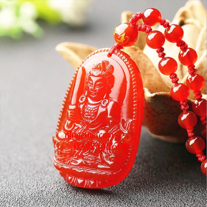 Phật bản mệnh Văn Thù Bồ Tát đá mã não đỏ