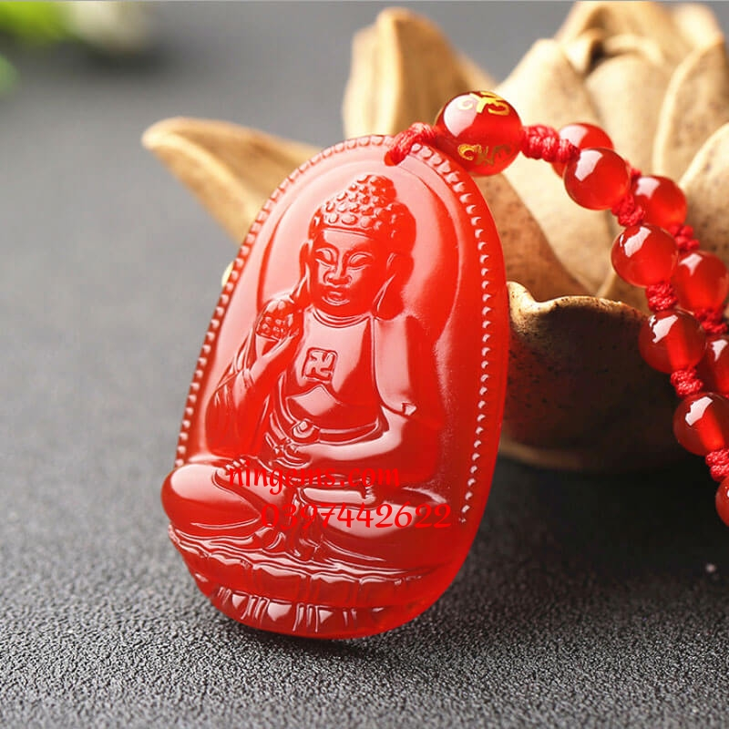 Phật bản mệnh A Di Đà đá mã não đỏ