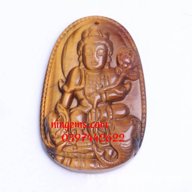 Phật bản mệnh Phổ Hiền Bồ Tát đá mắt hổ vàng