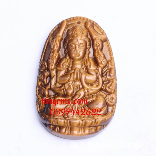 Phật bản mệnh Thiên Thủ Thiên Nhãn đá mắt hổ vàng