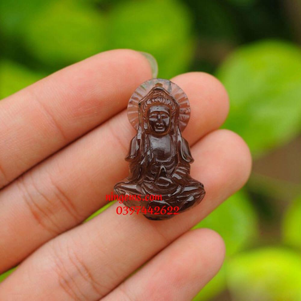 Mặt dây chuyền Phật Bà Quan Âm đá thạch anh khói