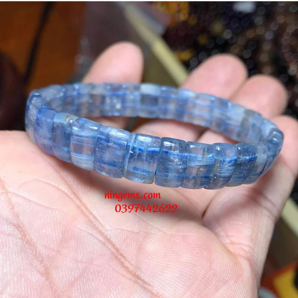 Vòng tay bản khúc đá aquamarine