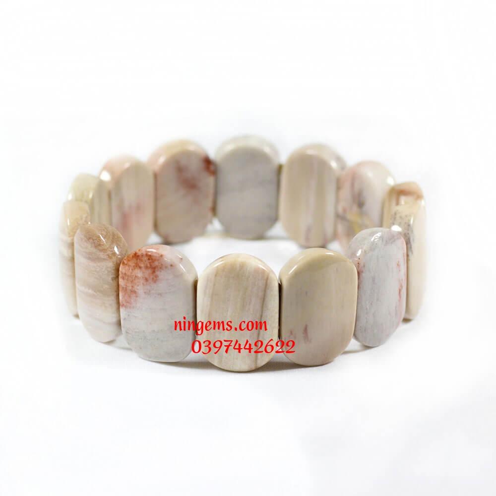 Vòng tay bản khúc gỗ hóa thạch