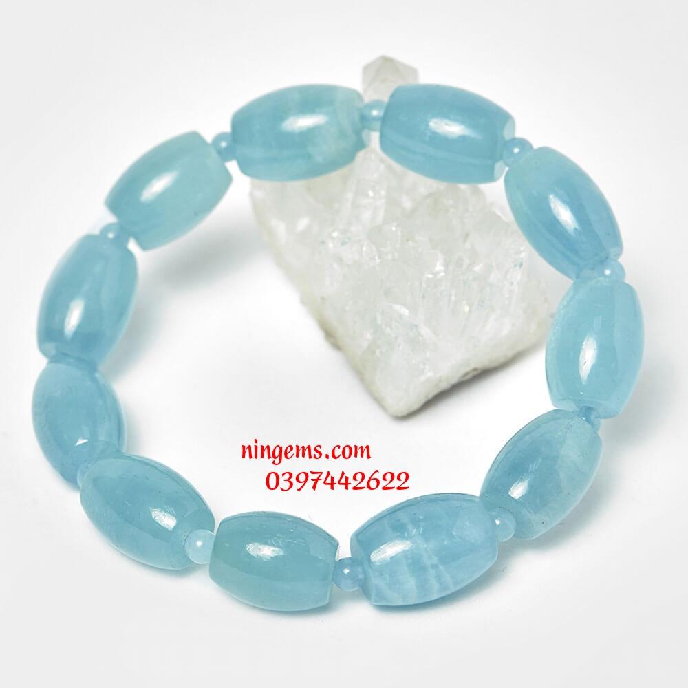 Vòng tay lu thống đá aquamarine