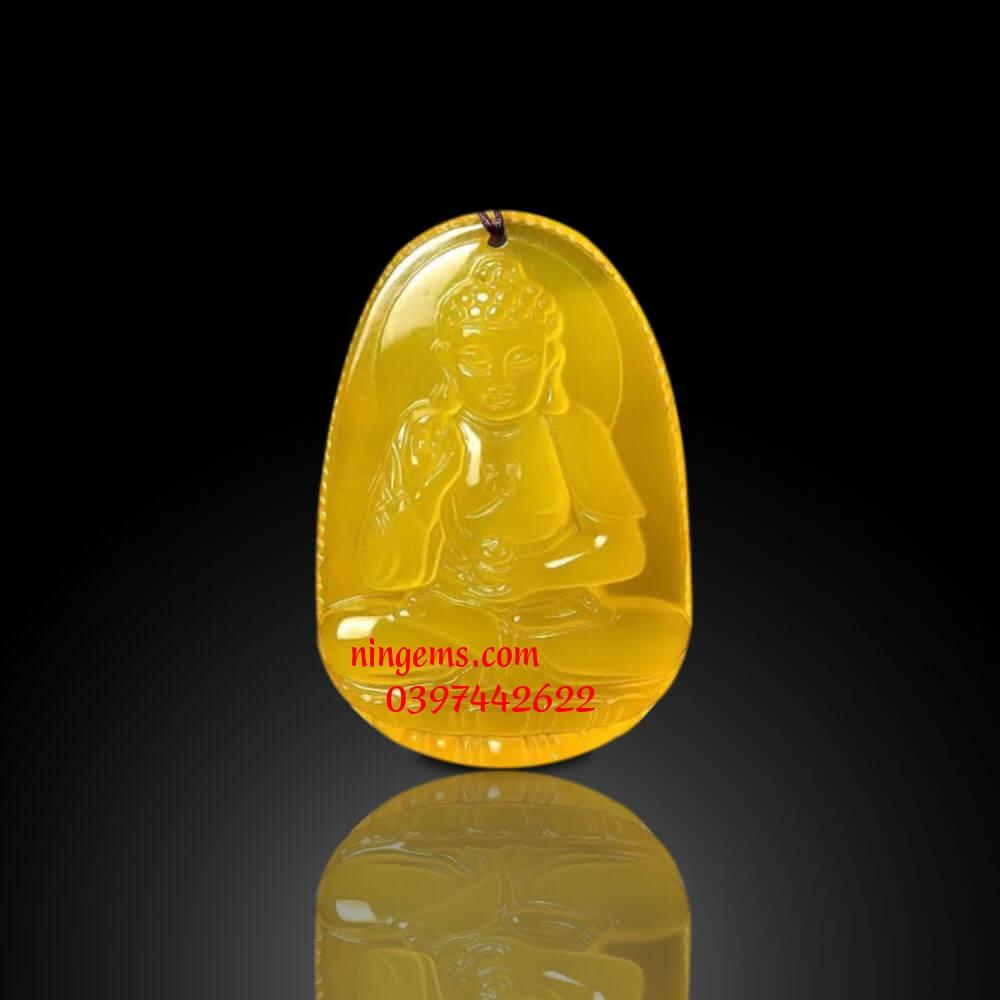 Phật bản mệnh A Di Đà đá mã não vàng