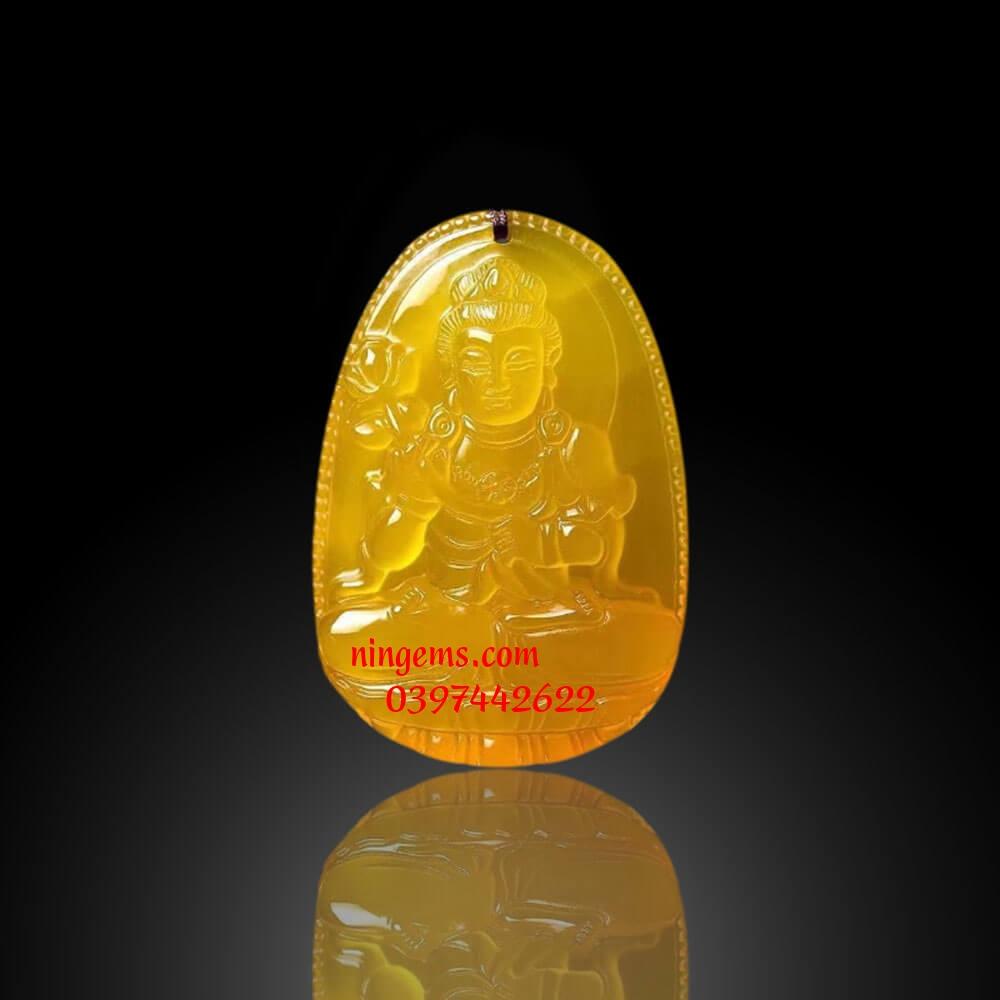 Phật bản mệnh Đại Thế Chí Bồ Tát đá mã não vàng