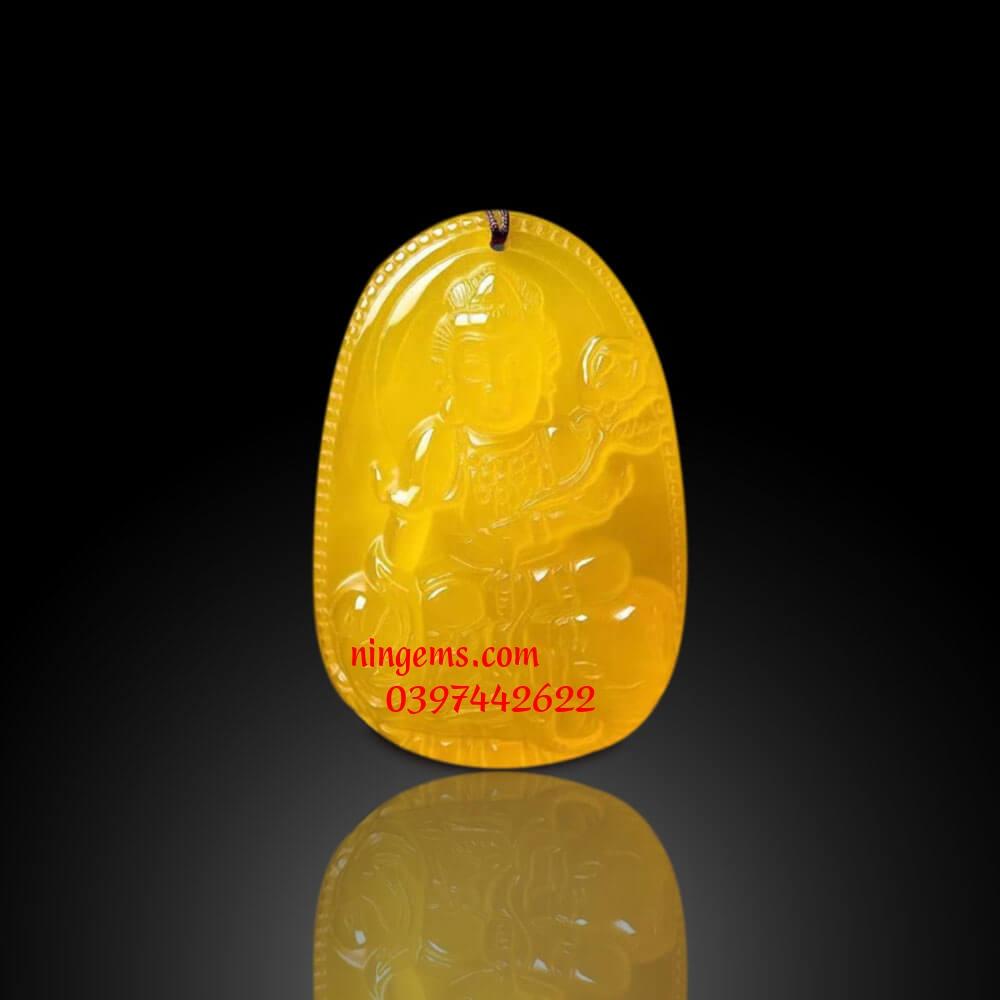 Phật bản mệnh Phổ Hiền Bồ Tát đá mã não vàng