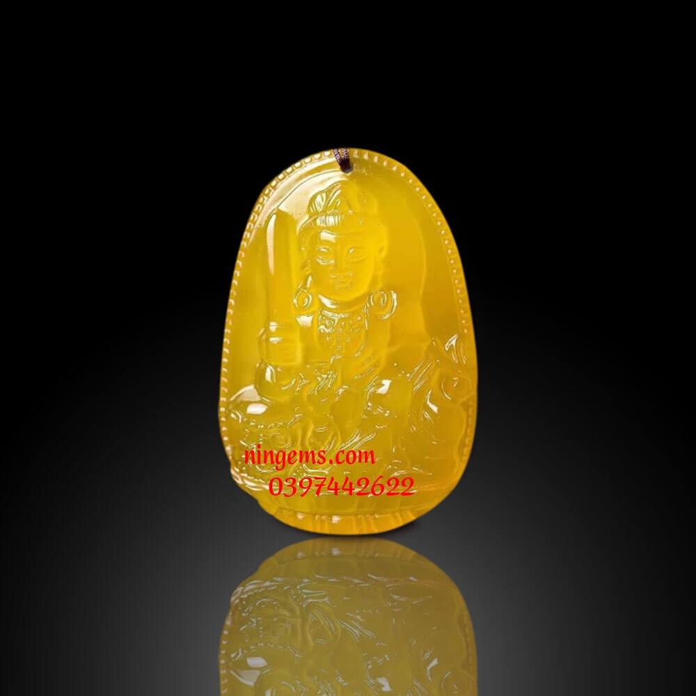 Phật bản mệnh Văn Thù Bồ Tát đá mã não vàng